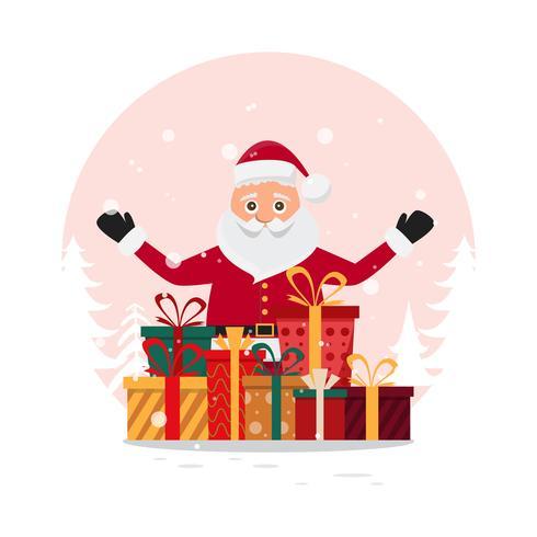 schattige kerstman tekens in verschillende emoties. vector