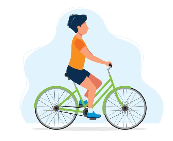 Man met een fiets, concept illustratie voor een gezonde levensstijl, sport, fietsen, outdoor-activiteiten. vector