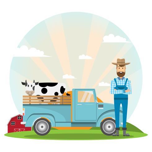 boer stripfiguur met melk koe in biologische boerderij op het platteland vector
