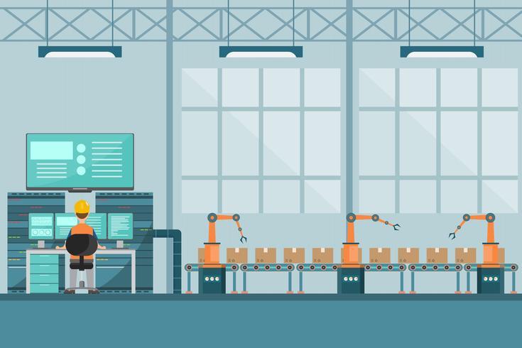 slimme industriële fabriek in een vlakke stijl met arbeiders, robots en assemblagelijnverpakking. vector