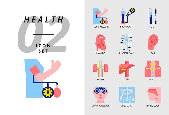 Icon pack voor gezondheid, ziekenhuis, bloeddruk, lichaamsgewicht, lengte, vitaal teken, lichamelijk onderzoek, oor, nier, lever, schildklier, oogarts, thoraxfoto, rinologie. vector