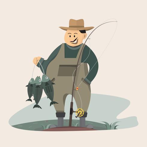 Visserskarakter die een grote vis en een hengel met meer en rivierlandschap houden vector