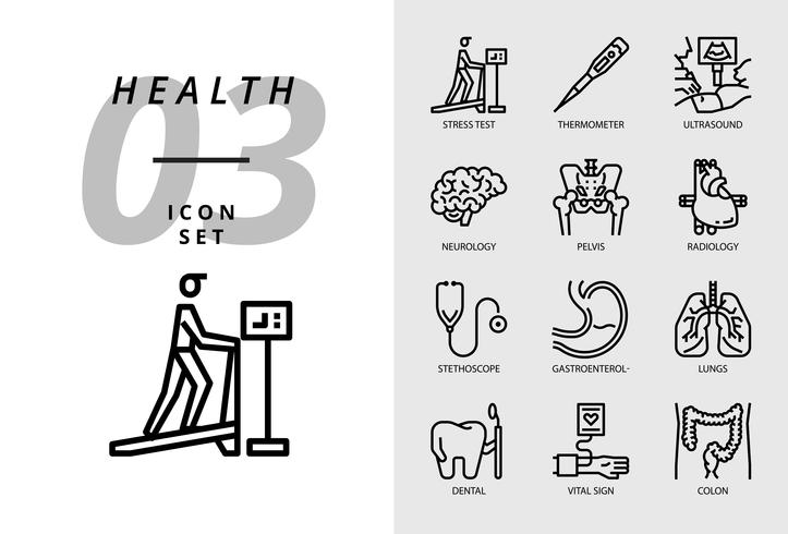 Icon pack voor gezondheid, ziekenhuis, stresstest, thermometer, echografie, neurologie, bekken, radiologie, stethoscoop, gastro-enteroloog, longen, tandheelkundige, vitale functie, colon. vector