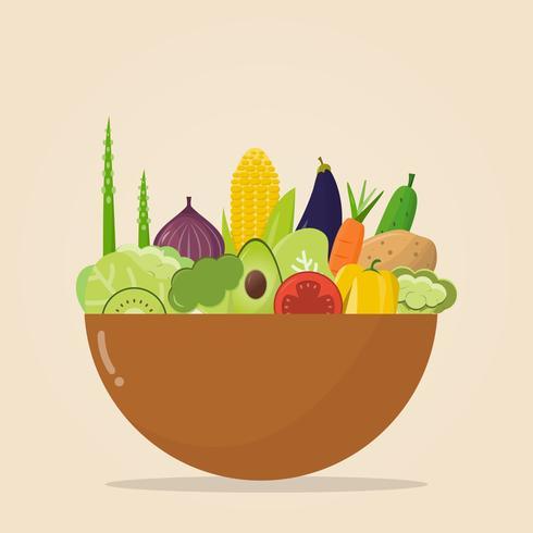 een kom met biologisch voedsel. Vectorillustratie, set van groenten en fruit. vector