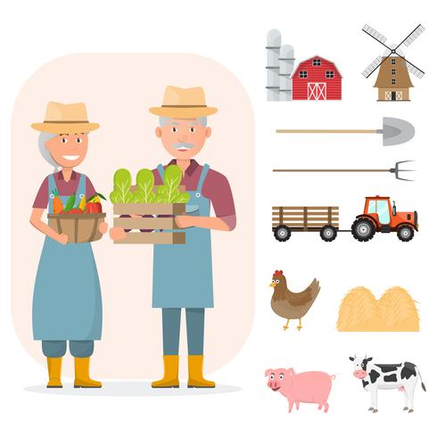 gelukkig boer familie stripfiguur in biologische landelijke boerderij met landbouwmachines vector