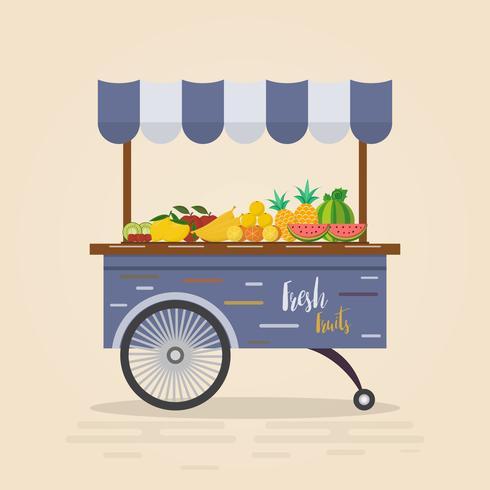 Boerderij winkel. Lokale markt. Fruit en groenten verkopen. vector