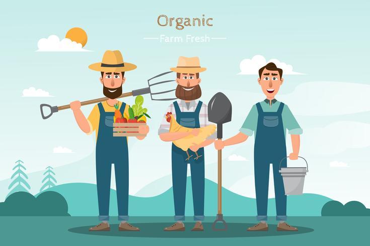 gelukkig man boer cartoon karakter in biologische boerderij op het platteland vector