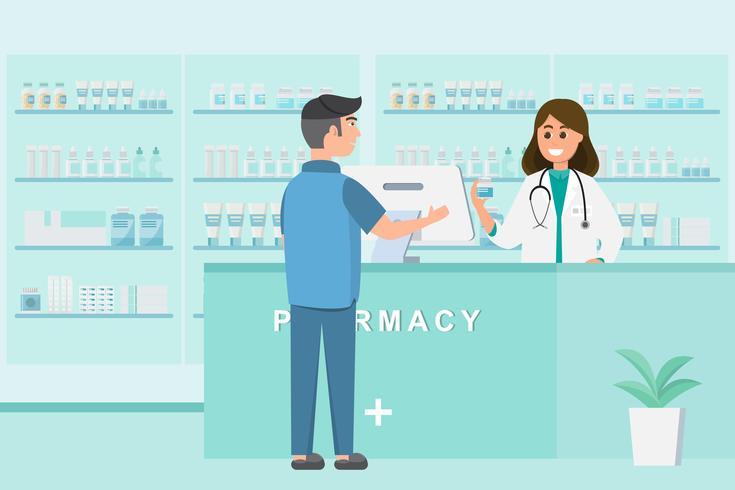 apotheek met verpleegster in de teller. drogisterij stripfiguur vector