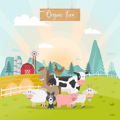 schattige dieren boerderij cartoon in biologische boerderij op het platteland. vector
