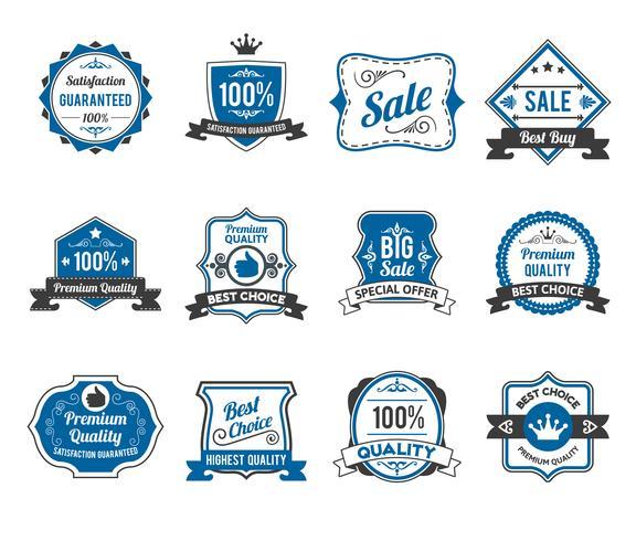 Retro verkoop labels pictogrammen collectie vector