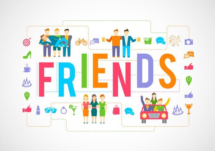 Vrienden pictogrammen plat vector
