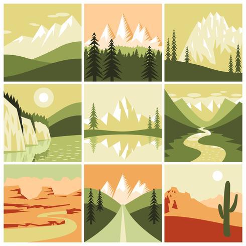 Natuur berg pictogrammen vector