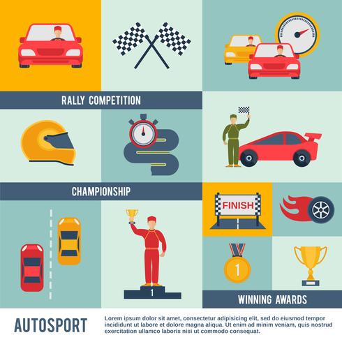 Auto Sport pictogram plat vector