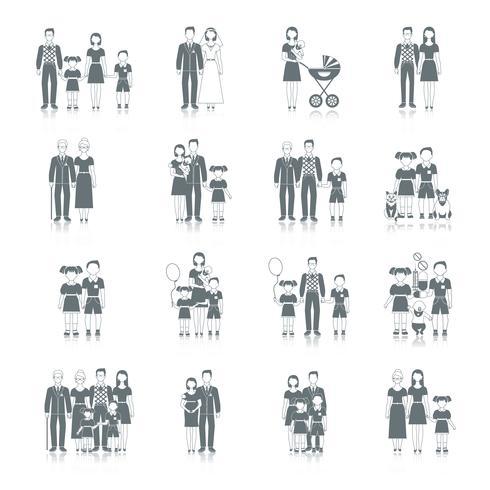familie pictogram zwart vector