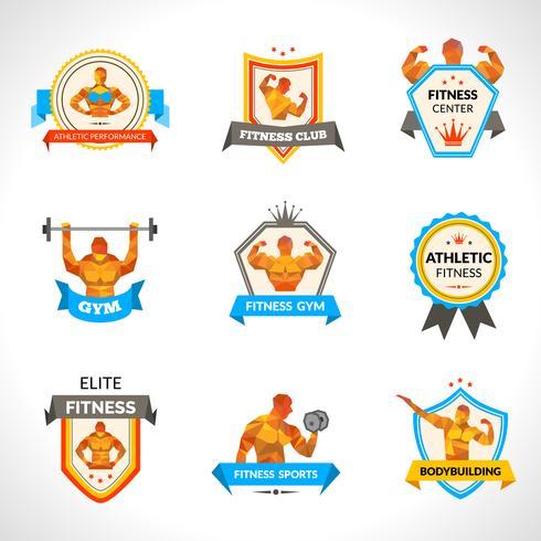 Bodybuilding emblemen instellen vector