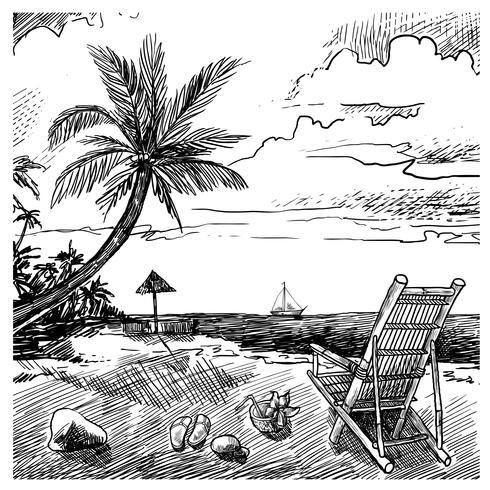 zomer strand schets vector