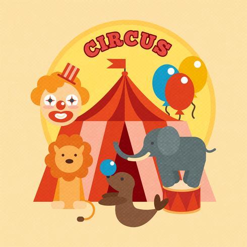 circus poster plat vector