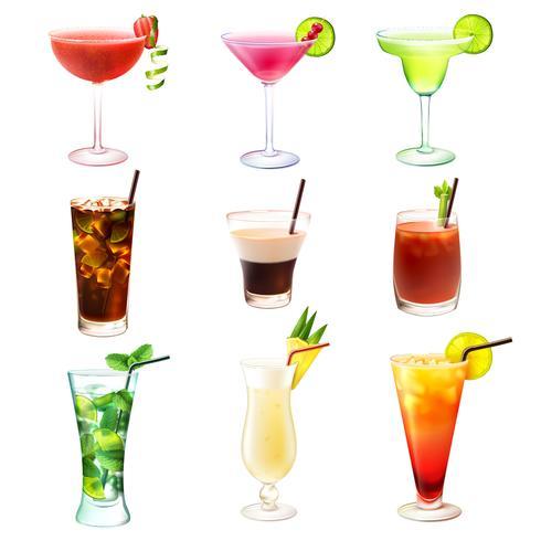 Cocktail realistische set vector