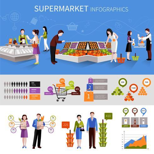 Supermarkt mensen Infographics vector