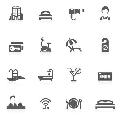 hotel pictogram zwart vector