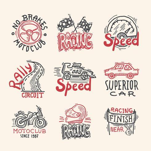 Racing emblemen Set vector