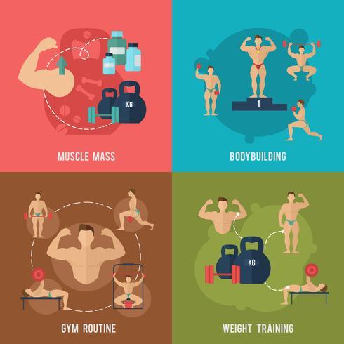 Bodybuilding vlakke set vector