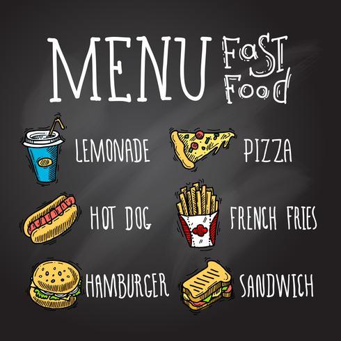 Fastfood schoolbord vector