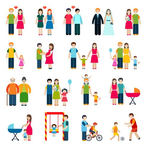 Familie cijfers pictogrammen vector