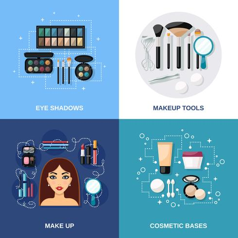 Make-up vlakke set vector