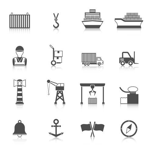 Zeehaven zwarte pictogram vector
