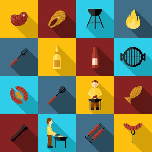 BBQ-grill pictogram plat vector