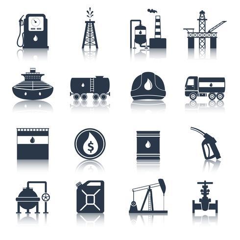 Olieindustrie pictogrammen zwart vector