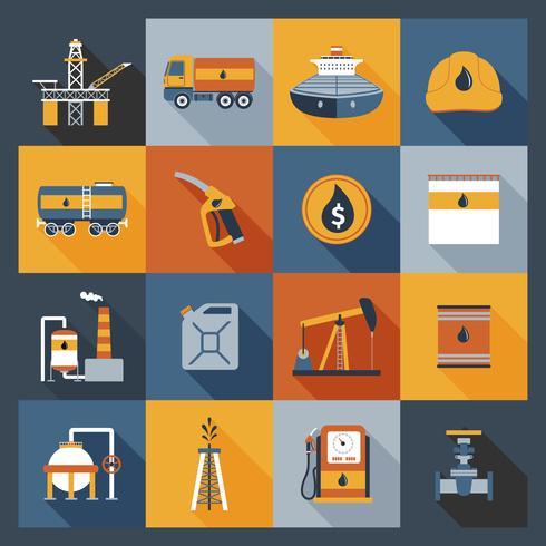 Olie industrie pictogrammen plat vector