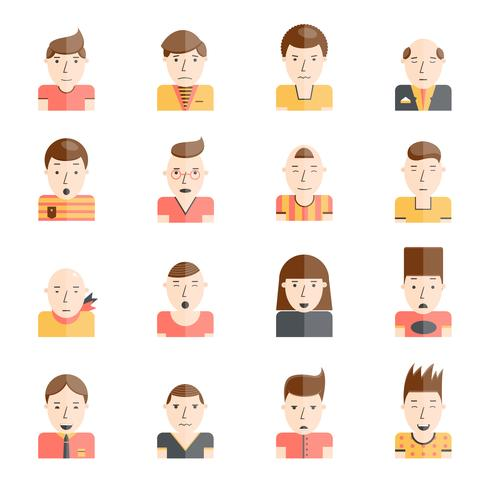 Man gezichten pictogrammen plat vector