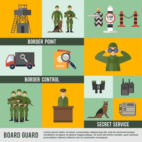 grenswacht pictogram plat vector