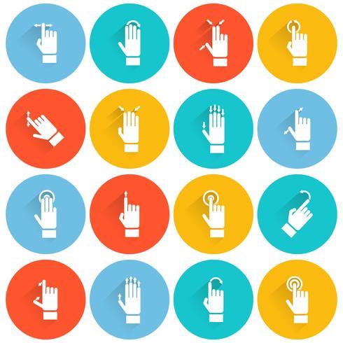 Hand aanraken scherm platte pictogram vector