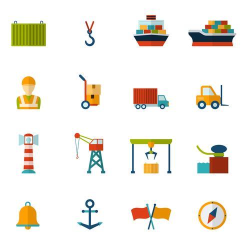 Zeehaven platte pictogram vector