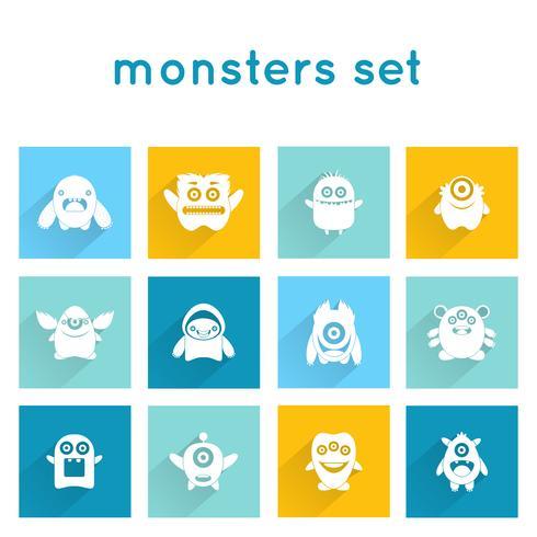 monster pictogrammen instellen vector