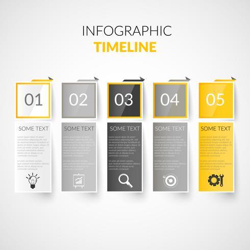 Papier tijdlijn infographics vector