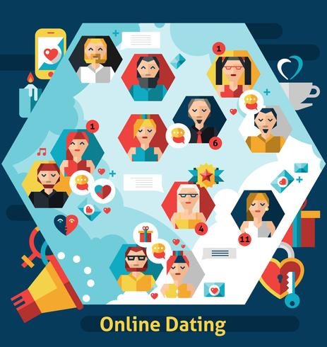 Online dating concept vector
