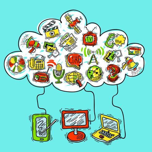 Communicatie conceptenschets vector