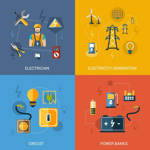 Elektriciteits vlakke set vector