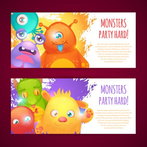 Monsters horizontale banners vector