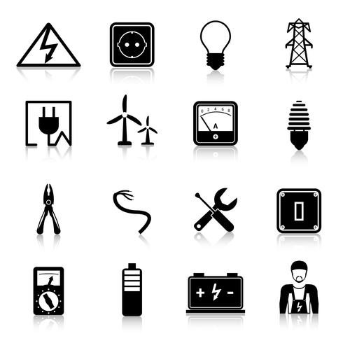 Elektriciteit Icons Set vector