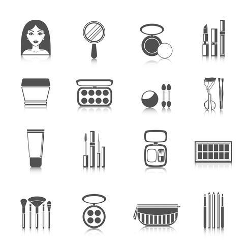 Make-up pictogrammen zwart vector