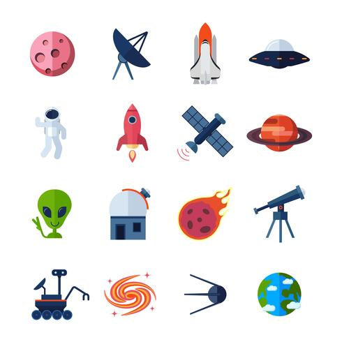 ruimte pictogrammen plat vector