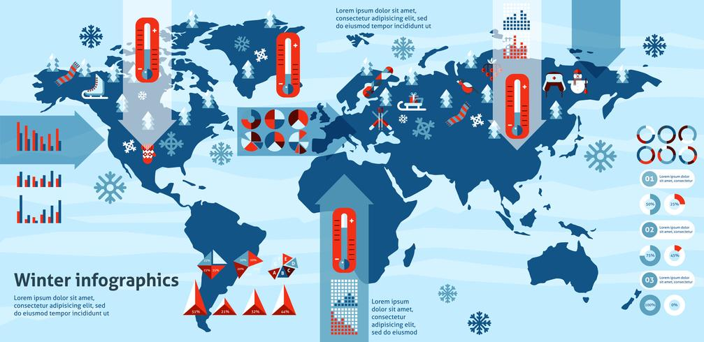 winter infographics set vector
