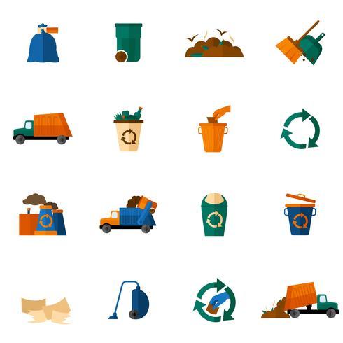 platte vuilnispictogrammen vector