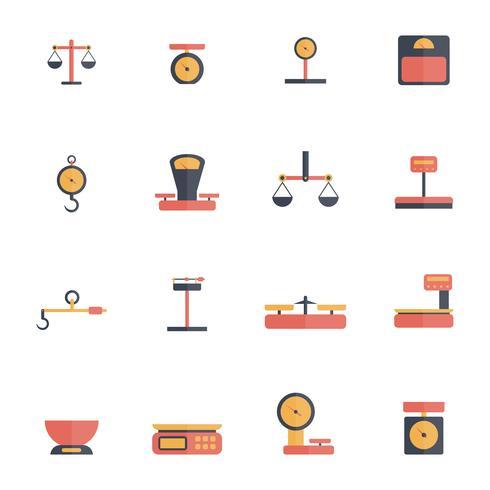 schalen gewicht pictogram plat vector