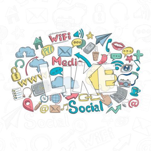 sociale doodle zoals vector